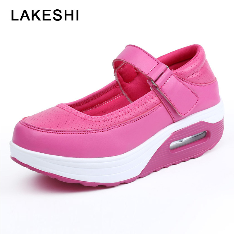 LAKESHI Casual Women Shoes 2019 New Round Toe Ladies Shoes White Rocking Shoes Cushion Nurse Breathable Shallow Mary Jane ShoesLAKESHI Casual Women Shoes 2019 New Round Toe Ladies Shoes White Rocking Shoes Cushion Nurse Breathable Shallow Mary Jane Shoes