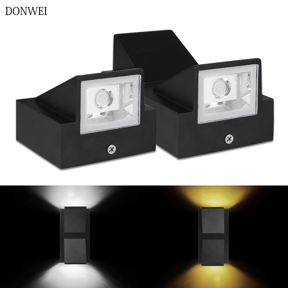 DONWEI 6W LED Wall Light Outdoor Waterproof IP65 Modern Nordic Style Indoor Wall Lamps Living Room Porch Garden Lamp AC85-265V