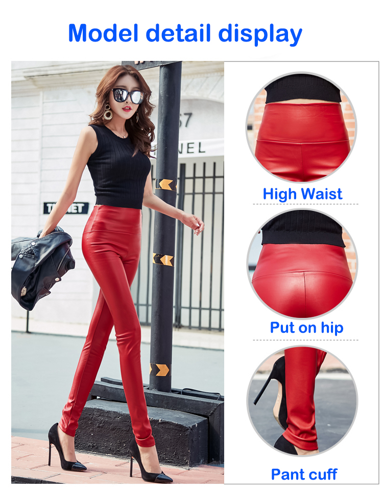 Autumn Winter Women Thin Velvet PU Leather Pants Female Sexy Elastic Stretch Faux Leather Skinny Pencil Pant Women Tight Trouser 23