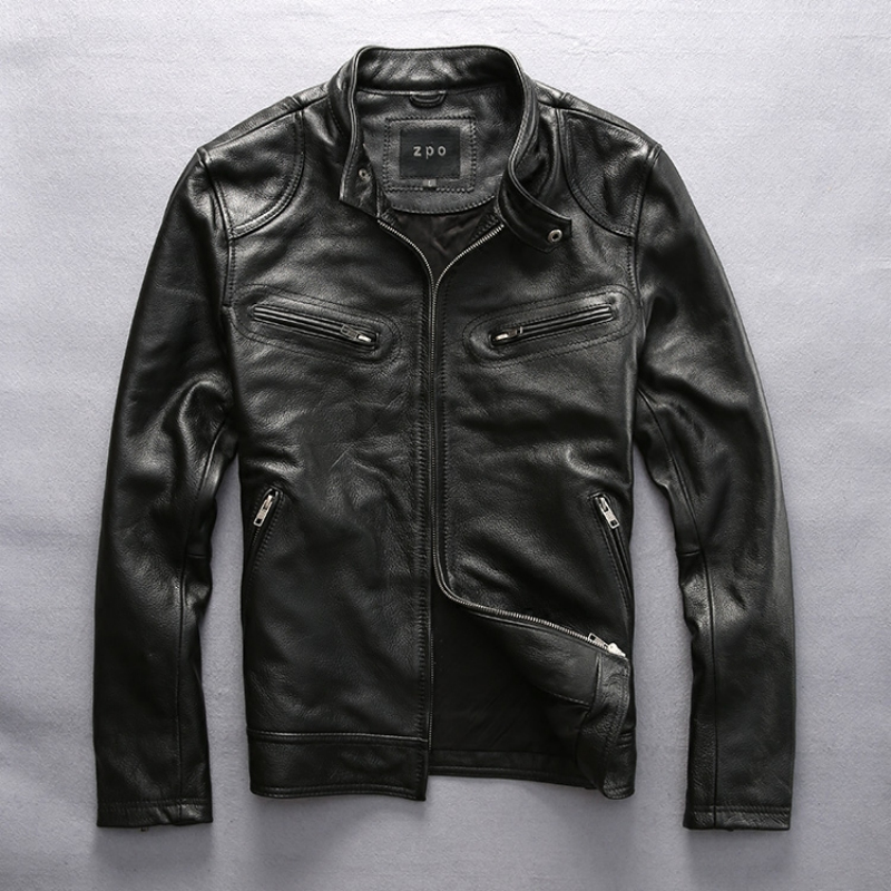 hot sale cow leather clothing Mens over size genuine cowhide leather simple design slim leather jacket outerwear