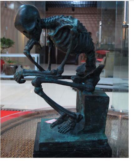 Art décor pur cuivre laiton marbre Base Figurine crâne penseur Statue Sculpture Statue décoration laiton magasins d'usine