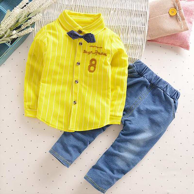Spring Summer New Children Sets Fashion Boys Suits Denim Trousers Full Sleeve Shirt Letter Children's Clothing TWO Pieces недорого