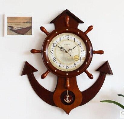 Mode bois gouvernail ancre horloge qualité luxe grande muette quartz horloge et montre