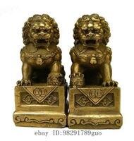 Hinese Folk Fengshui Foo Fu Dog Guardion Door Lion Statue Pair Copper Craft Tools Wedding Decoration
