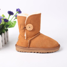 New Fashion Children Winter Shoes Real Leather Girls Boys Boot Enfant Fille Snow Warm Toddler Boots Botas Baby Boots For Kids