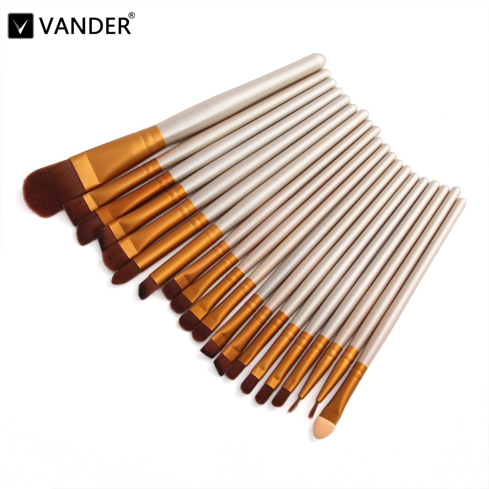 Vander 20 Pcs Professional Cosmetic Makeup Brush Women Foundation Eyeshadow Eyeliner Lip Make Up Eye Brushes Pincel maquiagem professional bullet style cosmetic make up foundation soft brush golden white