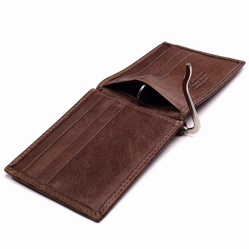 ใหม่ผู้ชายเงินคลิปกระเป๋าสตางค์หนังหนังวัวธุรกิจกระเป๋า Clamp สำหรับเงิน Bifold บัตรเงินสด walet
