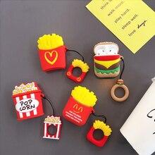 Гамбургер чипсы силиконовый наушник чехол для AirPods Bluetooth беспроводной