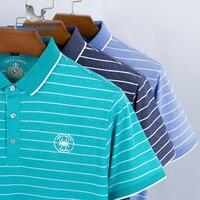 Новый летний для мужчин's мужские Поло рубашка нагрудный бейдж Высокое качество топы корректирующие для мужчин короткий рукав в полоск
