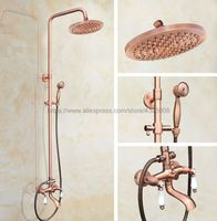 Shower Faucets Antique Red Copper Shower Set Faucet Tub Mixer Tap Handheld Shower Wall Mounted Brg573