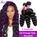 Brazilian Loose Wave 3 Bundles 7a Unprocessed Brazilian Virgin Hair Ali Moda Hair Curly Weave Human Hair Brazilian Hair 1B