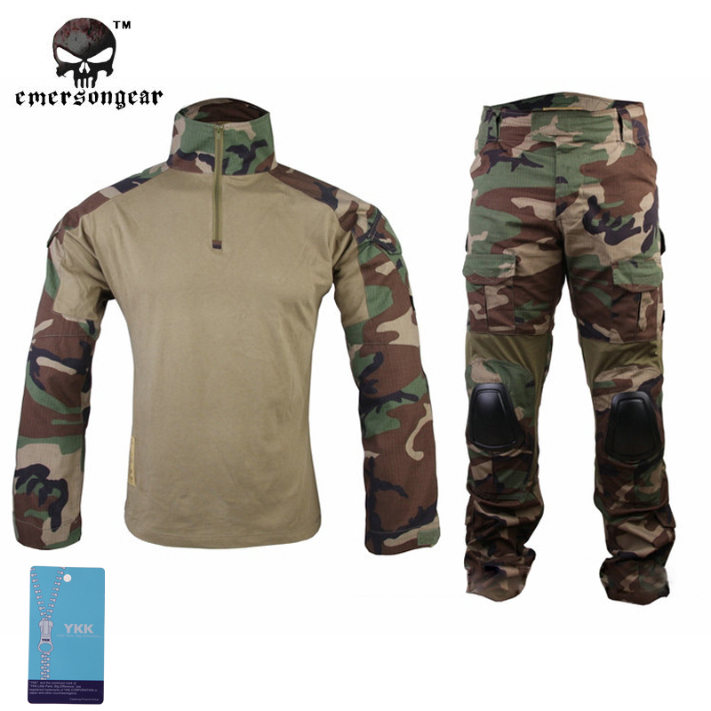 Emersongear Gen2 Woodland Combat Shirt&Pants with elbow knee pads Airsoft Tactical Gear Hunting Uniform Teflon BDU EM6974 WL 7pcs xiaomi skating cycling helmet knee pads elbow wrist brace set