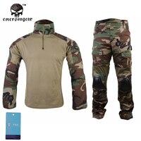 Emersongear Gen2 Woodland Combat Shirt&Pants With Elbow Knee Pads Airsoft Tactical Gear Hunting Uniform Teflon BDU EM6974 WL