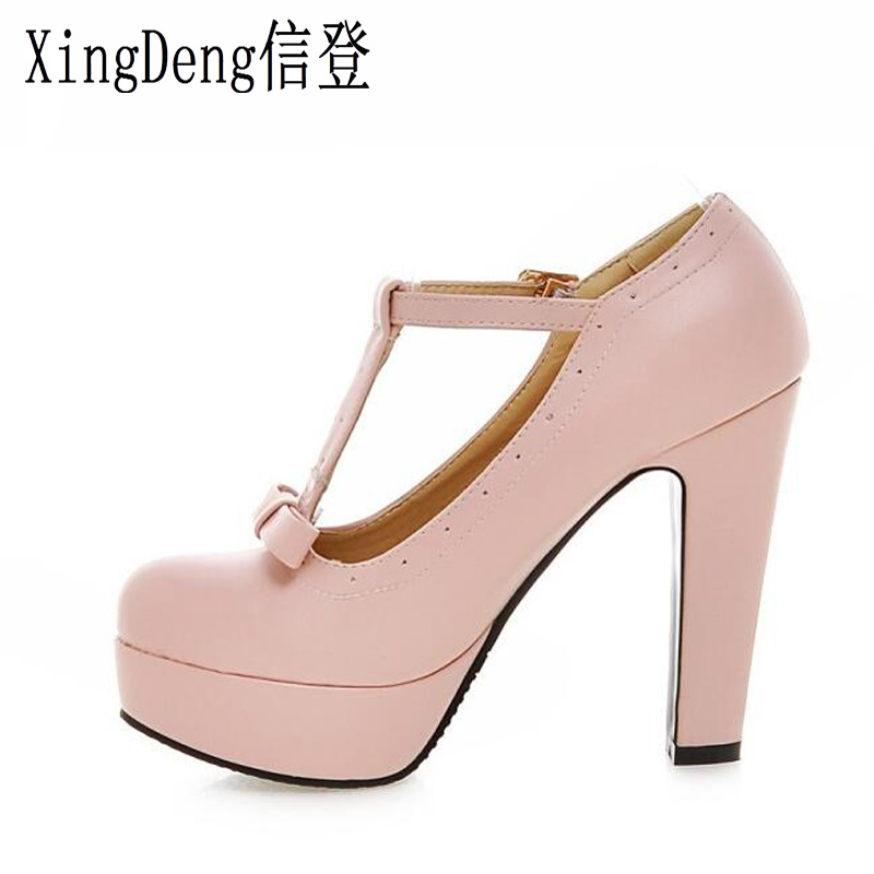Detail Feedback Questions about XingDeng Women Round Toe Platform Party High  Heel Shoes Ladies Sweet Candy Color T Strap Thick Heel Pumps Size 33 43 ... 9930e9183535