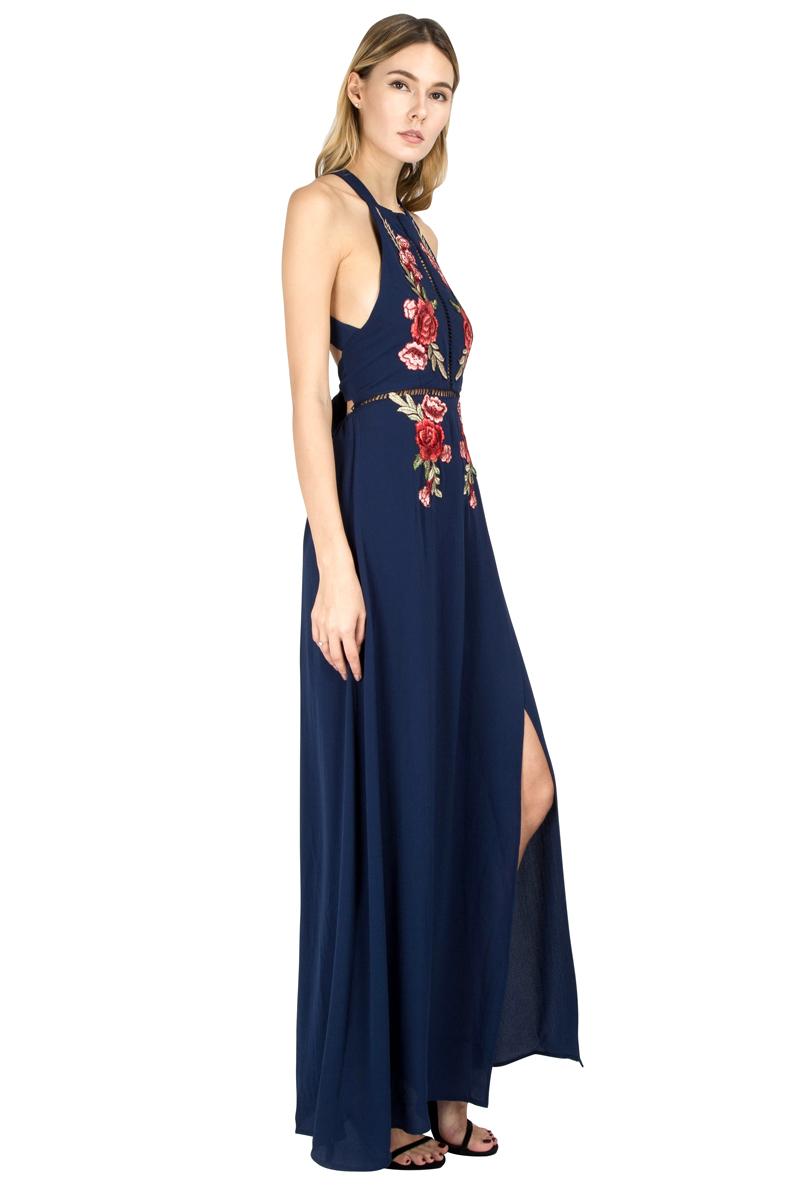 BONGOR LUSS Summer Women Maxi Dress 2017 Halter Sleeveless Front Split Sexy Backless Long Party Dress Embroidery Beach Dress (20)