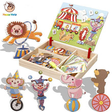 Children 3D Magnetic Puzzle sticker Toys Cartoon Animals Traffic Puzzles Tangram Kids Educational Toy for