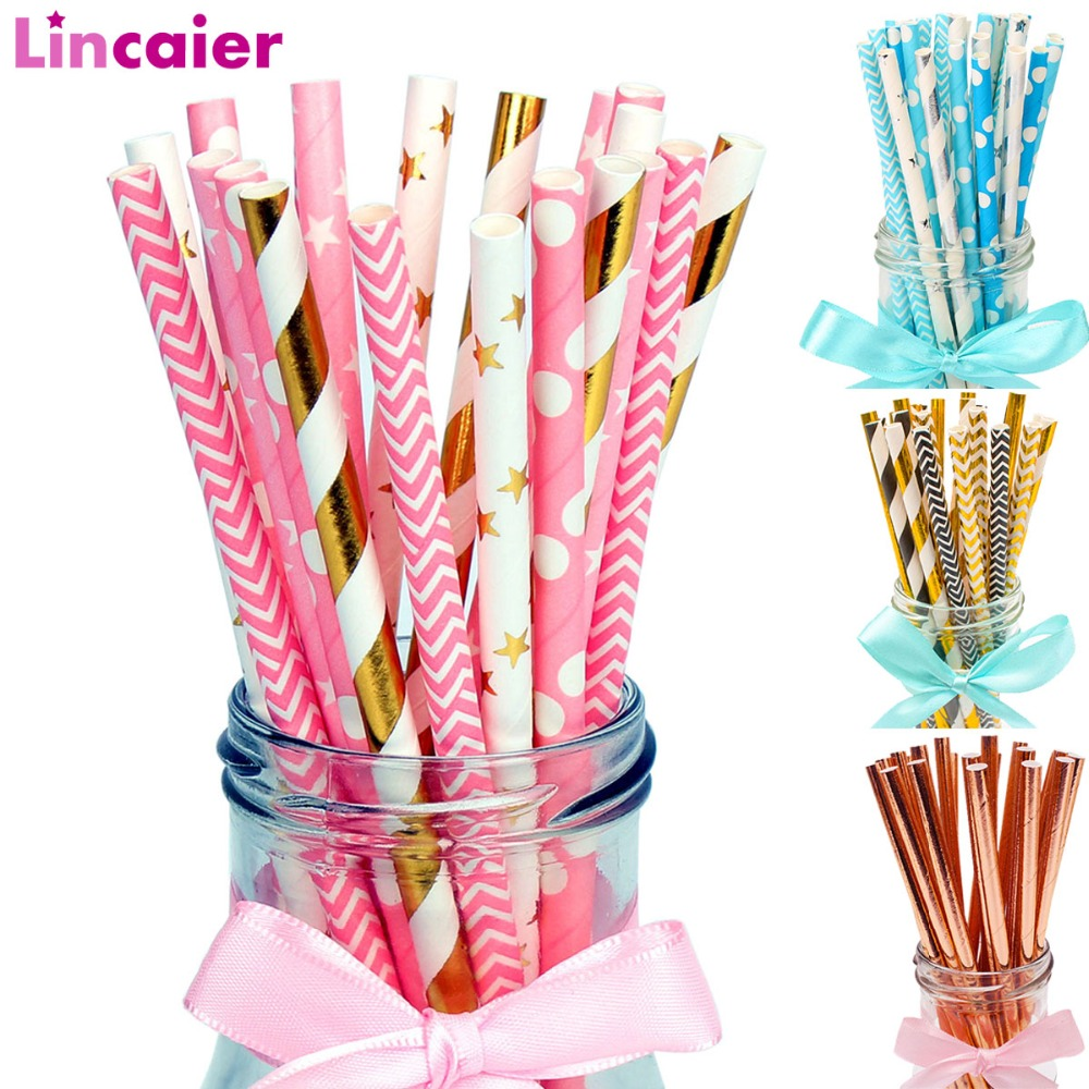 Lincaier 25Pcs Paper Drinking Straws Wedding Party Table Decoration Birthday Kids Boy Girl Baby Shower Adult Supplies Graduation