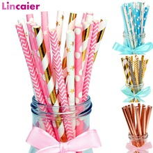 Lincaier 25Pcs Paper Drinking Straws Wedding Party Table Decoration Birthday Kids Boy Girl Baby Shower Adult