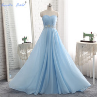 Sapphire Bridal 2018 Spring Collection sky blue Evening Gowns Inspired Pleated Long Formal Evening Dress