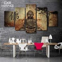 5 Unidades Zen Buda Casa Moderna Decoración de La Pared Pintura Del Arte de la Lona HD Imprimir Pintura Lienzo Cuadro de la Pared Para La Decoración Del Hogar de Buda Arte