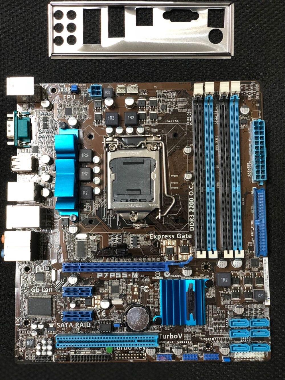 D'origine carte mère pour ASUS P7P55-M DDR3 LGA 1156 USB2.0 pour I5 I7 cpu 16 GB SATA2 P55 Bureau motherborad Livraison gratuite
