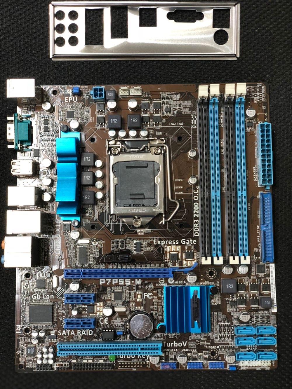 original motherboard for ASUS P7P55-M DDR3 LGA 1156 USB2.0 for I5 I7 cpu 16GB SATA2 P55 Desktop motherborad Free shipping все цены