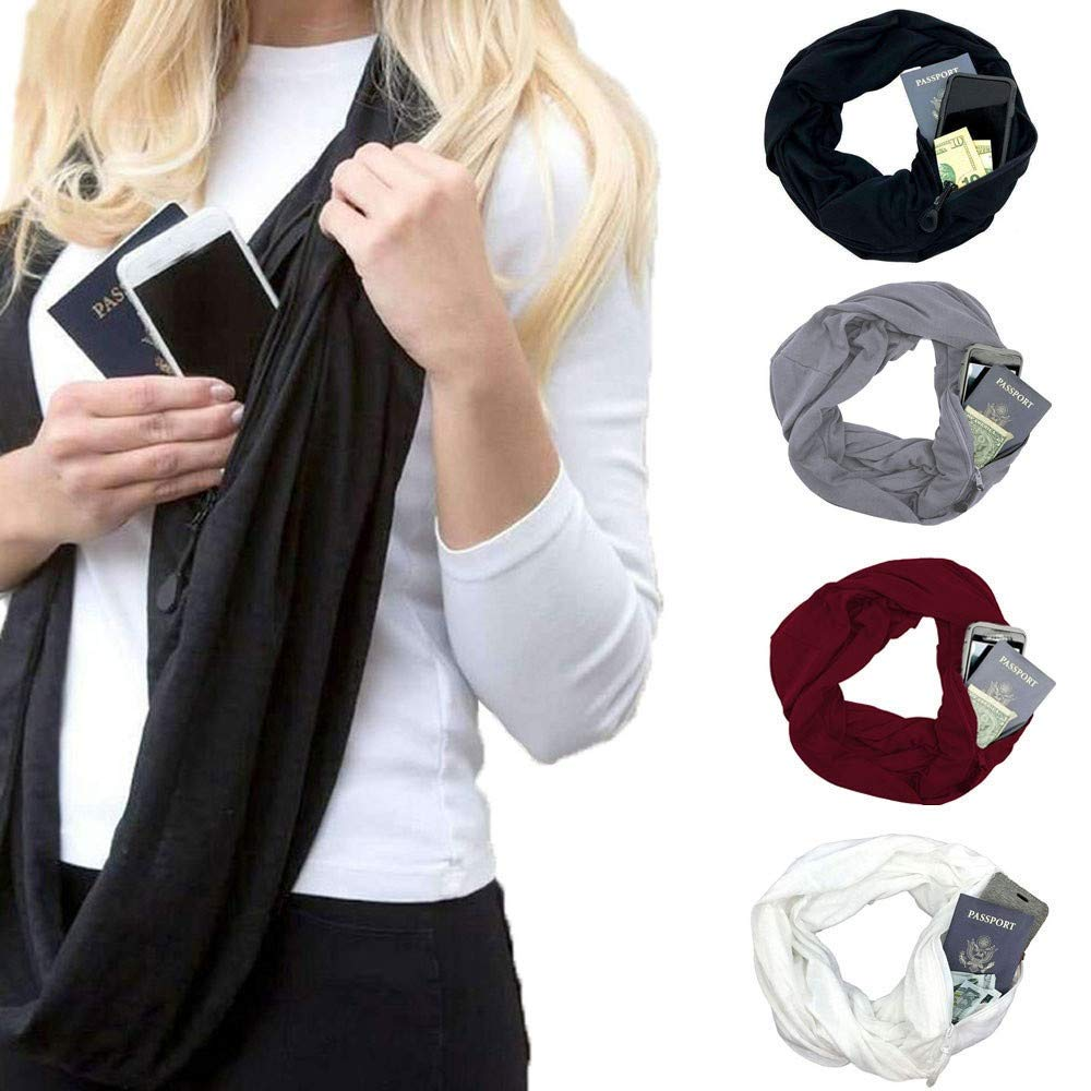 Solid Color 1pcs All-match Men Women Soft Winter Warm Scarf With Pocket Convertible Journey Infinity Loop Zipper Fashion Scarves Latest Technology Apparel Accessories
