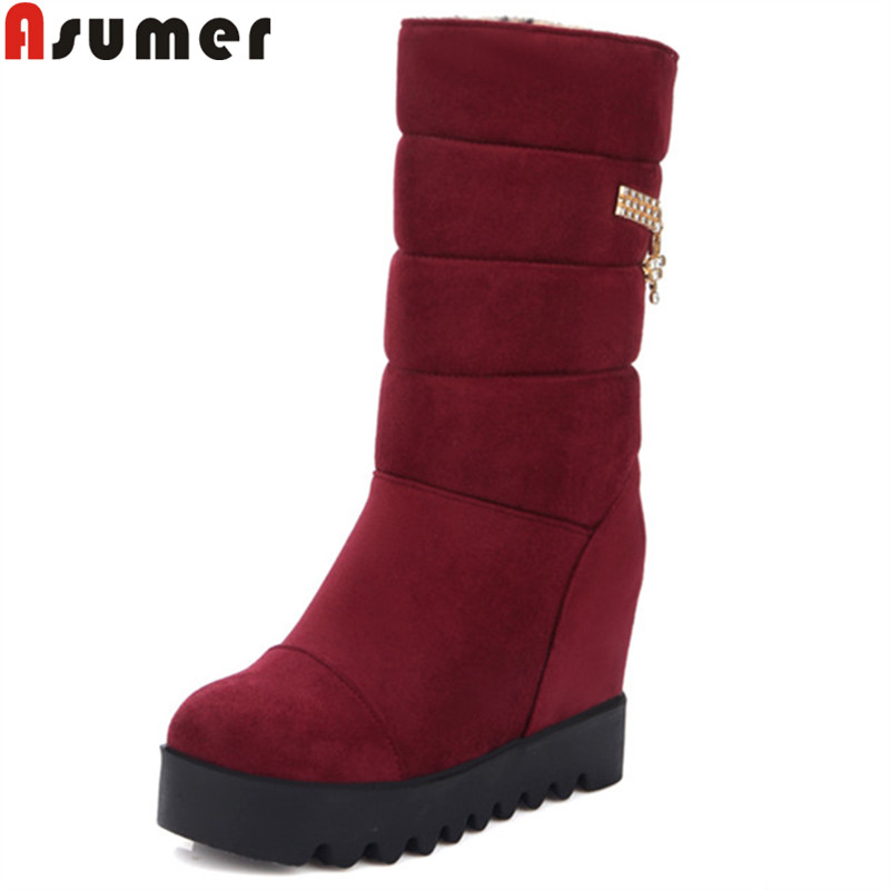 ASUMER 2018 fashion winter snow boots women round toe mid calf boots platform heigh increasing flock ladies boots big size 34-43 new fashion winter boots wool flock shoes women boots platform thick high heels mid calf boots two swear big size 34 43 0715