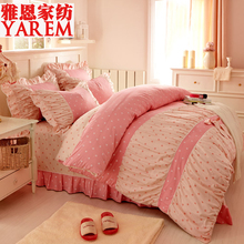 2016 New 100% Cotton Bedding Set Princess bowknot pastoral Bed Set Floral Duvet cover Full/Queen/King size Bedspread Bed linen