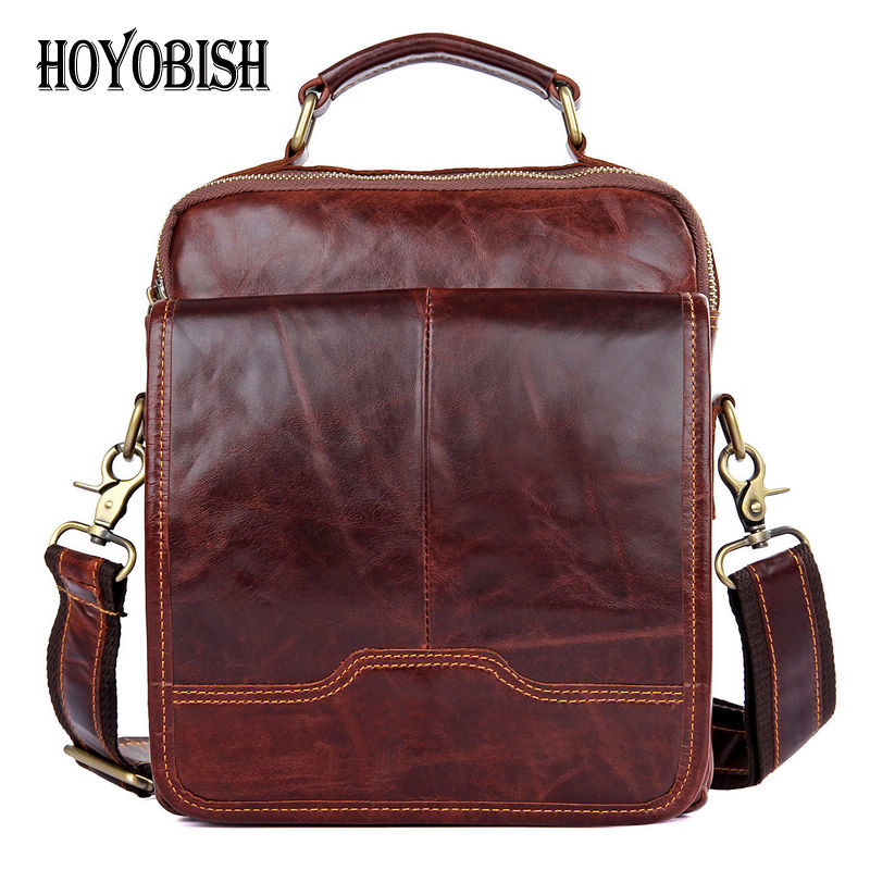 HOYOBISH Vintage Cow Leather Men Messenger Bags Large Capacity Male Cowhide Leather Bags Genuine Leather Men