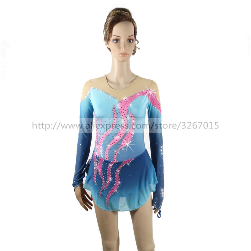 Figure Skating Dress Customized Competition Ice Skating Skirt for Girl Women blue Pink stripes Rhythmic Gymnastics Round neck