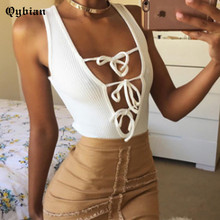 Sexy deep v neck lace up white jumpsuit romper Women elastic slim Knitted bandage Vest tops Casual cami short bodysuit