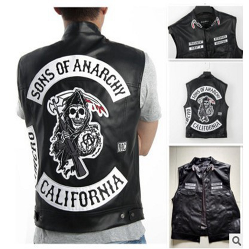 Freeshipping Sons Of Anarchy Embroidery Leather Rock Punk Vest Cosplay costume Black Color Harley Motorcycle sleeveless Jacket Блузка