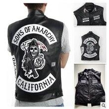 Бесплатная доставка Сыны Анархии вышивка кожа рок панк-жилет косплэй костюм черный цвет Harley мотоцикл куртка без рукавов