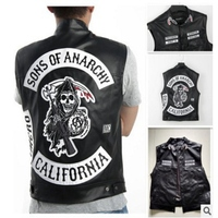 Freeshipping Sons Of Anarchy Embroidery Leather Rock Punk Vest Cosplay costume Black Color Harley Motorcycle sleeveless Jacket