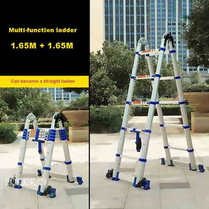 JJS511 High Quality Household Folding Ladder Portable Multi-function Ladder Thick Aluminum Alloy Engineering Ladder(1.65M+1.65M)