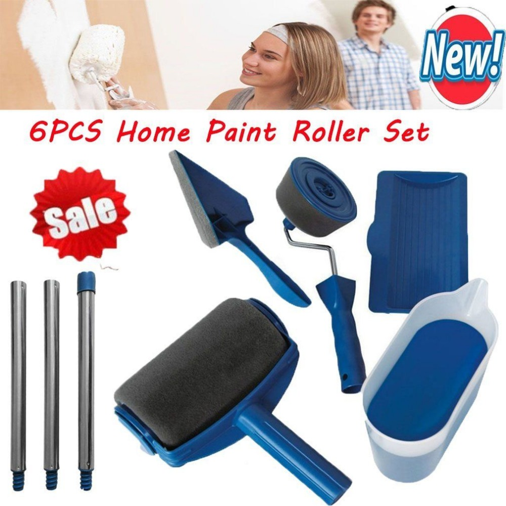 6Pcs Paint Roller Brush Handle Tool DIY Paint Tool Sets Painting Flocked Edger Home Wall Painting Tools Roller Paint Brush Set diy wall decoration tools 5 inch handle grip applicator plus 5 wall pattern painting roller 025y