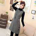 Plus size damas magros moda outono e inverno de lã houndstooth vest one piece-vestido Frete Grátis