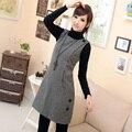 Plus size slim gentlewomen fashion autumn and winter woolen houndstooth vest one-piece dress  Free Shipping