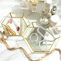 Nordic Gold Storage Tray Desktop Unique Glass Jewelry Storage Basket Fruit Tea Tray High Quality Metal Plate For Home Decoration