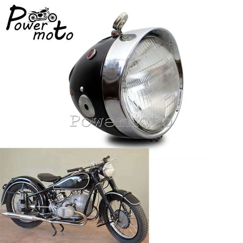 Acier moto rétro phare avant lampe phare pour Zundapp BMW K750 KS750 Wehrmacht BW40 Dnepr Ural Sidecar