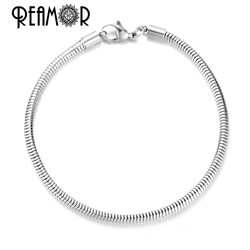 Reamor On Sale 5pcs 316l Stainless Steel Lobster Clasp Bracelet Basic Snake Chains Fit DIY European Bead Bracelet Jewelry Making