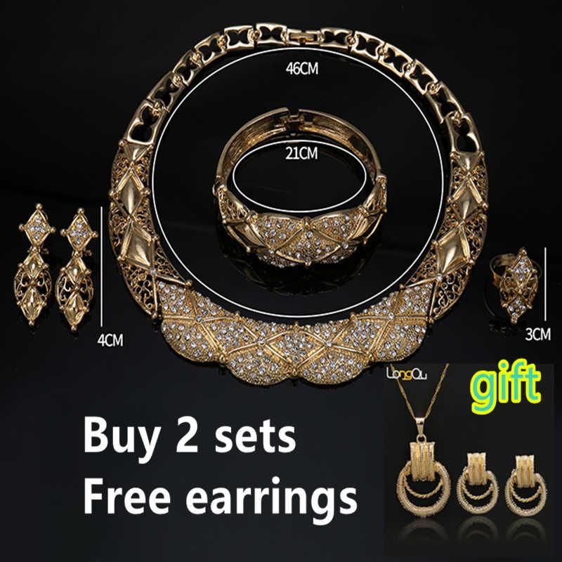 2018 afrikanische Perlen Schmuck-Set Dubai frauen Schmuck Set/Elegante Braut Hochzeit Gold-farbe Halskette Mode Schmuck sellingstyle