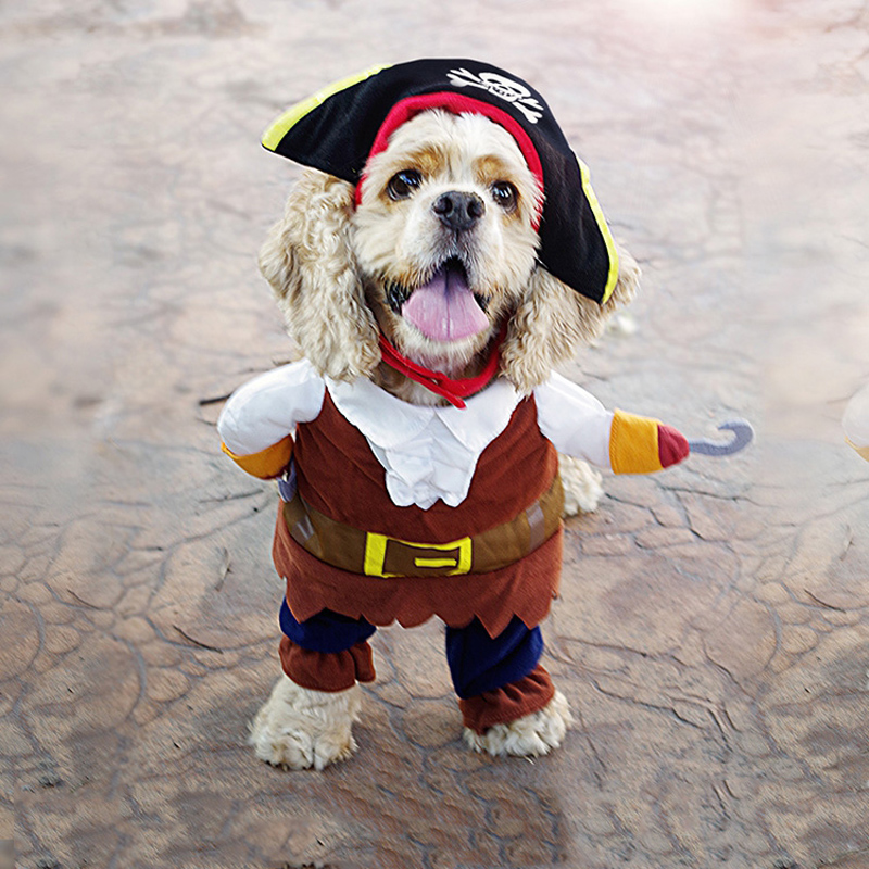 2016 Funny Dog Clothes Caribbean Pirate Costume Jumpsuit And Skull Hat Dress Up Party Arel For Puppy Pets Cat In Coats Jackets From
