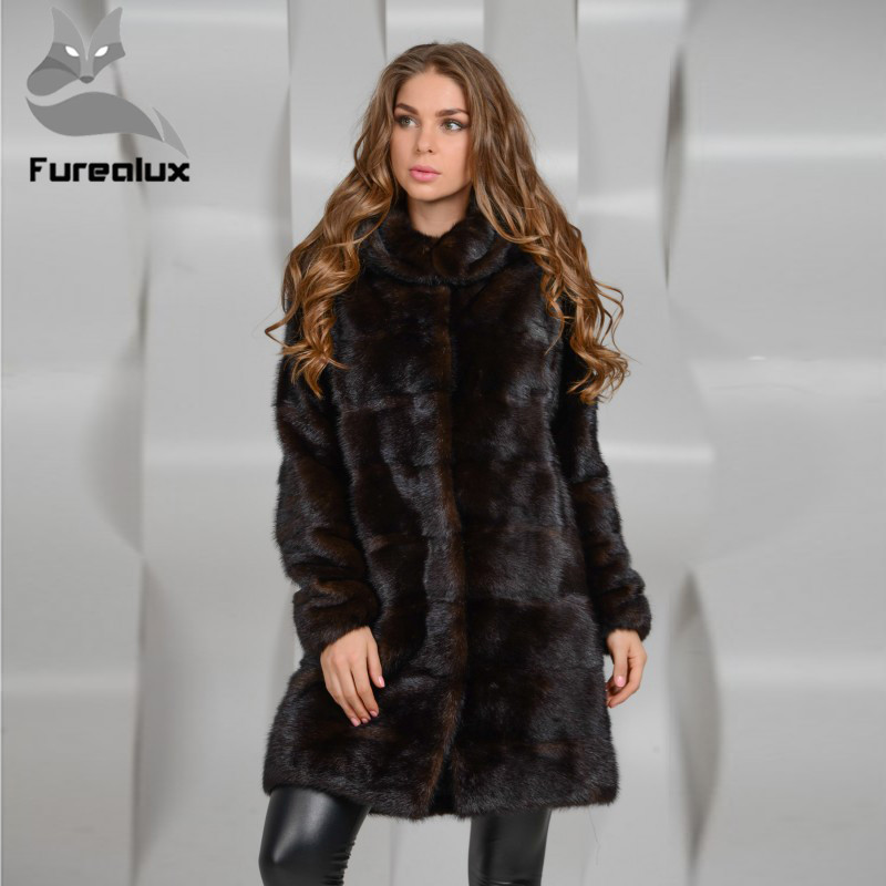 Furealux Real Mink Fur Coat Women With Hood Winter Thick Warm Natural Fur Outwear Genuine Leather Real Fur Coat Female