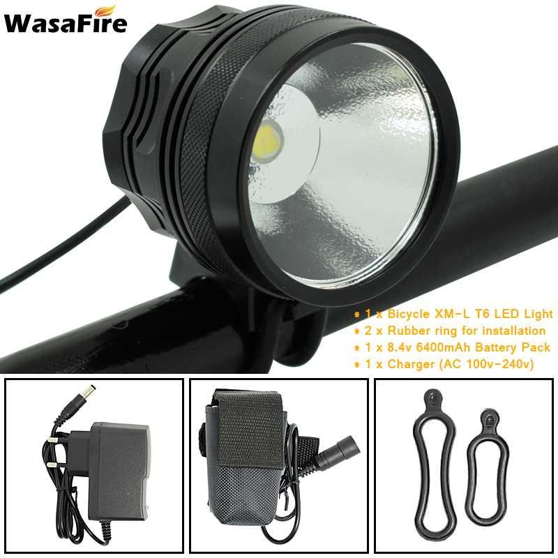 WasaFire XHP70 Waterproof Cycling Front Bike Light Fishing Camping Headlight Headlamp Bicycle Lamp Flashlight 6400mAh Battery