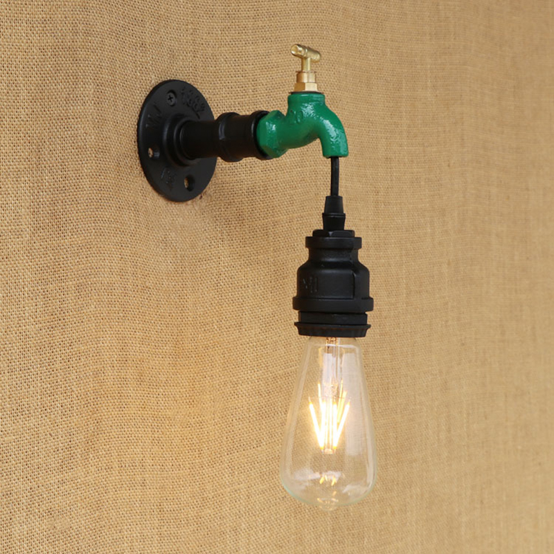 American modern  wall lamp indoor lighting vintage iron Water pipe light for living room bedroom restaurant bar 220v E27
