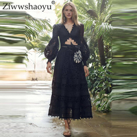 Ziwwshaoyu отпуск вышивка набор v-образный вырез Футболка с пышными рукавами топ + Империя большой маятник длинная юбка набор весна и лето новые ж...