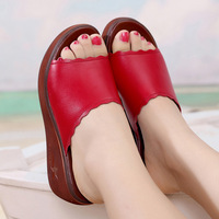 Plus Size 33 43 Open Toe Split Leather Platform Shoes Summer Slippers Woman 2019 Medium Heel Wedges Slides Women Beach Slipper