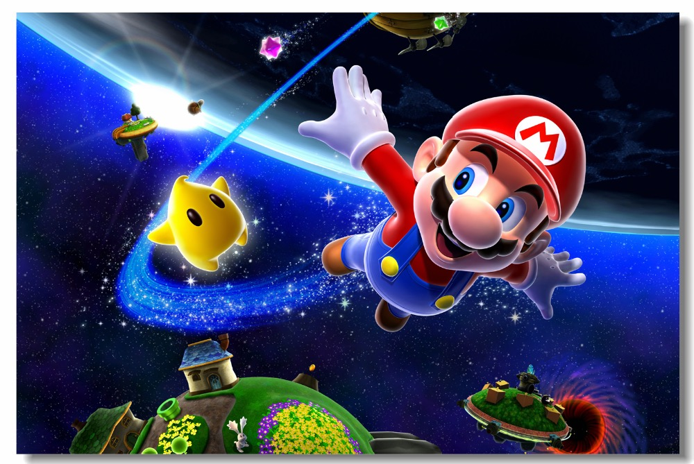 Us 599 25 Offcustom Canvas Wall Decor Super Mario Galaxy Poster Super Mario Wall Sticker Office Decal Game Wallpaper Living Room Mural 0467 In